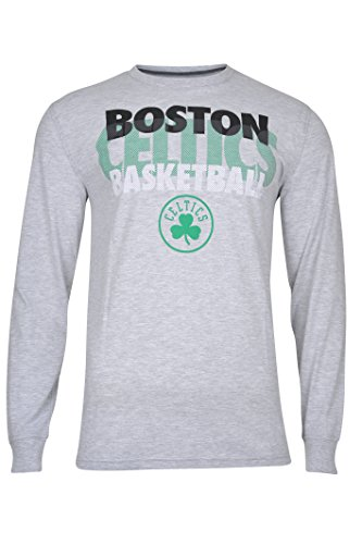 NBA Boston Celtics Men's T-Shirt Supreme Long Sleeve Pullover Tee Shirt, Large, Gray