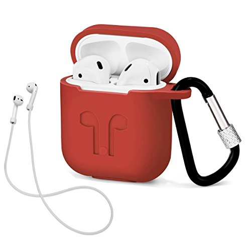 AirPods Case with Strap Protective Silicone Cover with Carabiner for Apple Airpods Accessories ( Red )