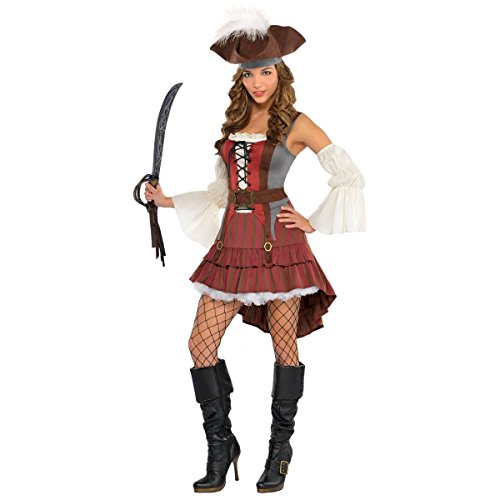 Pirate Family Costumes (Womens Castaway Pirate Costume Size Medium (6-8))