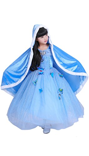 [YMING Girls Blue Princess Cosplay Cloak Girl Costume 9-10 Years] (Rey Costume Pattern)