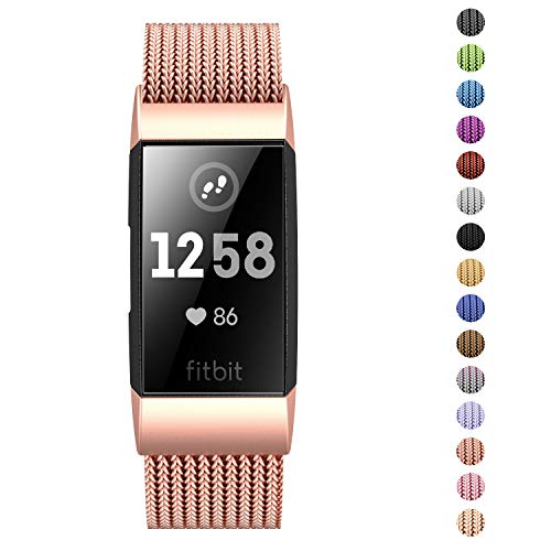 Fitlink Stainless Steel Metal Replacement Bands for Fitbit Charge 3 and Charge 3 SE for Women Men,Multi Color Multi Size(Rose Gold,Large(6.1 - 9.9))