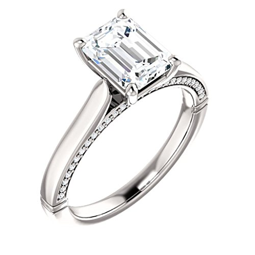 Cathedral Emerald Cut Diamond Engagement Ring