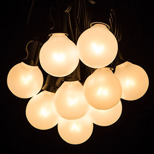 100 Foot Outdoor Globe Patio String Lights - Set of 100 G40 White Pearl 1.6 Inch Bulbs with Black Cord (Pearl Outdoor)