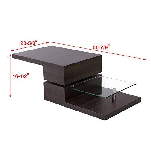fabulous 1312 tea table living room furniture tempered glass | Mecor Swivel Rectangular Coffee Table, Modern Side/End ...