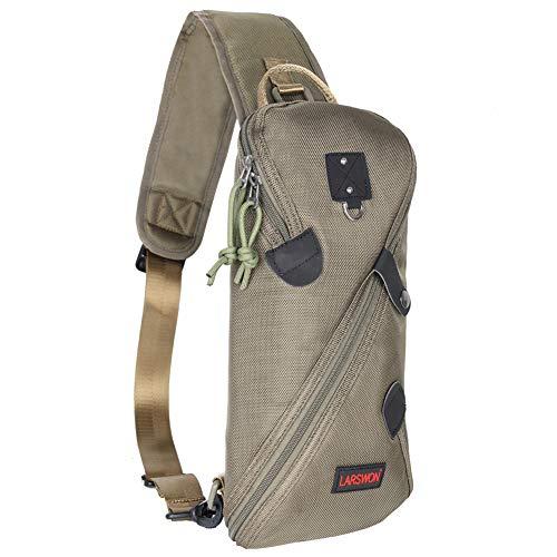 Larswon Sling Bag, Lightweight Chest Bag Small Backpack Shoulder Bag for Men Women Army Green