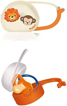 Mebby Soother Case with Fastener Orange, White, Blue, Holds 2 Soothers,