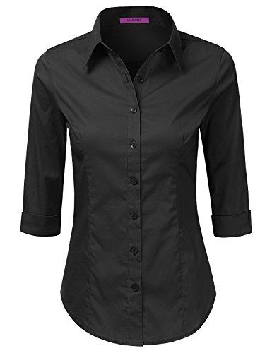 Amazon.com: LA BASIC Women's Simple Slim Fit 3/4 Sleeve Button ...