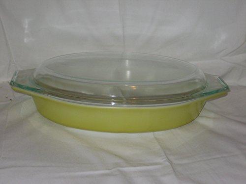 [2 Piece Set - Vintage Pyrex Yellow 1 1/2 Quart Divided Casserole Baking Dish w/ Clear Glass Lid] (Corelle Pyrex Casserole)