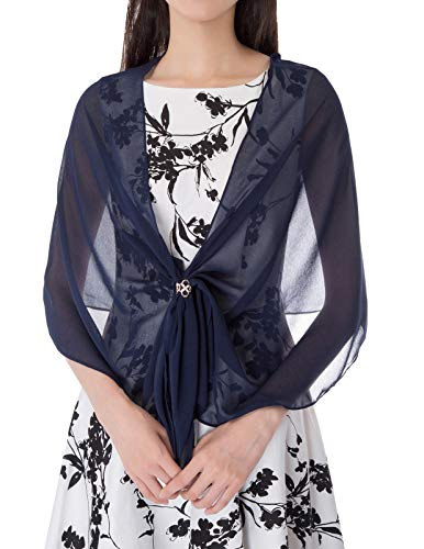 - Three-ring Chiffon Scarf Buckle Four-Leaf Scarf Rings for Woman(Navy+White Ring)