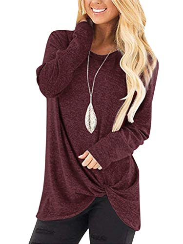 Yidarton Women's Comfy Casual Long Sleeve Side Twist Knotted Tops Blouse Tunic T Shirts(wi,XXL) Wine Red (Plus Size Blouses And Tops)