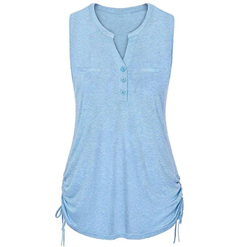 DEATU Women Button V-Neck Vest Ladies Rope Straps Pullover Sleeveless Tops Blouse (XXL, Blue)