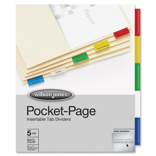 Pocket Divider Pages with Tabs for a Binder