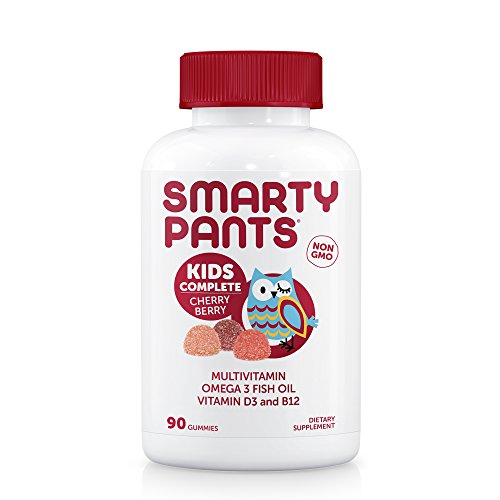 SmartyPants Kids Complete Cherry Berry Gummy Vitamins: Multivitamin & Omega 3 Fish Oil (DHA/EPA Fatty Acids), Vitamin D3, 90 (Kids Cherry)