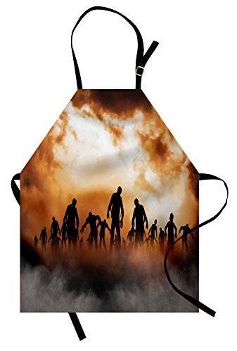 Ambesonne Halloween Apron, Zombies Dead Men Walking Body in The Doom Mist at Night Sky Haunted Theme Print, Unisex Kitchen Bib with Adjustable Neck for Cooking Gardening, Adult Size, Orange Black]()