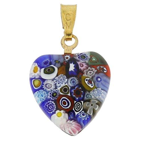 GlassOfVenice Murano Glass Millefiori Heart Pendant - Gold Multicolor ()