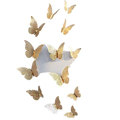 (telaite 3D Butterfly Wall Stickers DIY Art Decor Crafts For Nursery Classroom Offices Kids Girl Boy Baby Bedroom Bathroom Living Room Magnets And Glue Sticker Set(Gold C))