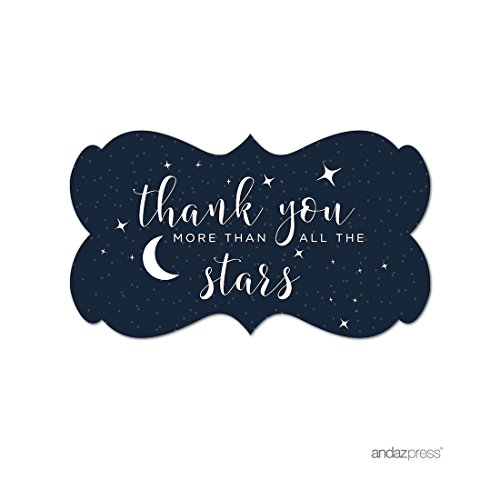 Andaz Press Love You to the Moon and Back Wedding Collection, Fancy Frame Label Stickers, Thank You More Than All The Stars, 36-Pack