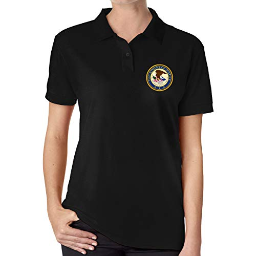 Seal The United States Department Justice Ladies Classic Polo Shirt Short Sleeve Golf Shirts Black