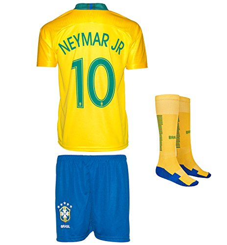 Brazil Neymar #10 Kids Jersey Set With Socks || Copa America 2016 & World Cup 2018 || Home Edition … (World Cup 2018 - Home, Small (4-5 Ages))