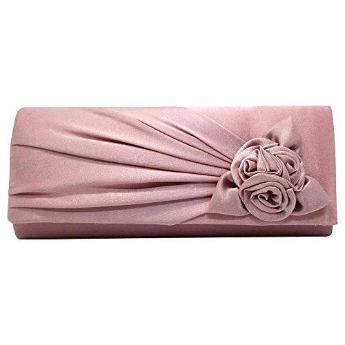 Satin Handbag Wocharm Bridal Rose Party Prom Pale Ladies Bag Handbag Wedding Evening Clutch With Womens Pink q5rBOx5Wa
