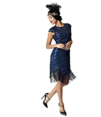 Unique Vintage 1920s Style Navy Blue Cap Sleeve Astrid Short Flapper Dress