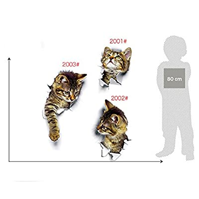 Zehui Cute Kitty Stickers Hole View 3D Cat Wall Sticker Bathroom Toilet Living Room Home Decor Animal Vinyl Decals Poster