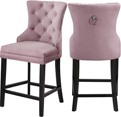 Meridian Furniture 741Pink-C Nikki Collection Modern | Contemporary Pink Velvet Upholstered Counter Stool with Wood Legs, Button Tufting, Chrome Nailhead Trim, Set of 2, 21
