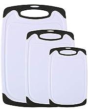 Vicloon Snijplankenset, Plastic Snijplankenset van 3 Met Vaatwasmachinebestendig, Sapgroef, Ophanggat