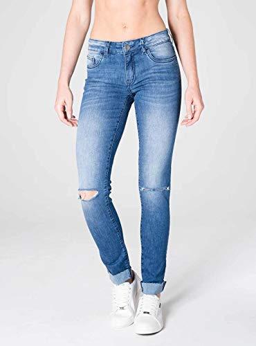 Calca Jeans Skinny Destroyed Cintura Intermediaria