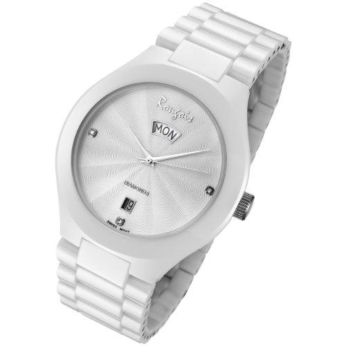 Rougois Men's White Ceramic Watch with Genuine Diamonds