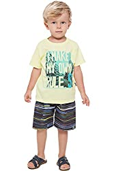 Toddler Boy Outfit Graphic Shirt and Shorts 2pc Set Pulla Bulla 1 Year - Lemon