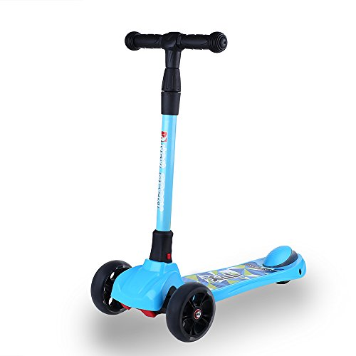 NEW OLYM Kick Scooter, Kids Mini 3 Wheel Scooter with Light-Up LED Wheels T-Bar Tilt Kickboard for Kids Perfect Unique Present Xmas Christmas Gift Ages 3-8 (Blue)
