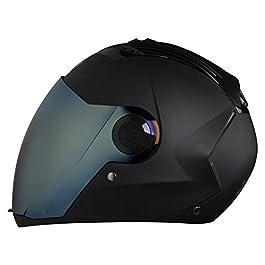 Steelbird SBA-2 Full Face Helmet with Blue Visor (Black, Medium)