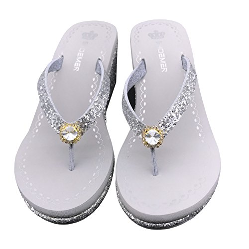 Sequins Diamond Sandals Platform Heel Slip On Flops Glitter Thongs Ladies Silvery1 Flip Womens High Wedge Summer Sparkle wYEAvXq