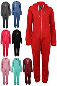 66P Womens Zip Up Romper Suit Ladies Hooded Winter Jumpsuit Onesies