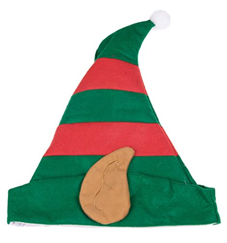 [Christmas Elf Hat with Ears - One Size Fits All] (Childrens Santas Helper Costume)