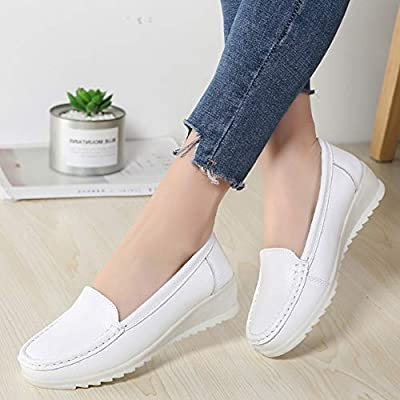 ZOVE Womens Nurse Shoes Comfort Wedge Slip On Leather Work Nursing Loafers White Medical Shoes