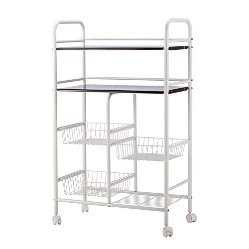 Pastel Kitchen Trolley Cart Storage Shelf Rolling Wire Rack Basket Shelf Stand Storage Tier Utility Multifunction Wheels Stand Easy Moving Mobility