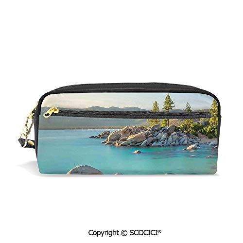 Printed Pencil Case Large Capacity Pen Bag Makeup Bag Pastoral Spring Time Scenery in Provincial Countryside Lake Beach Shallow Water Theme for School Office Work College Travel