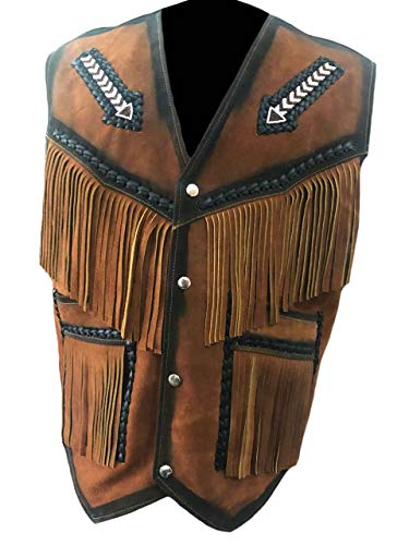 SleekHides Men's Suede Leather Western Arrow Vest with Fringes & Beads Brown 4X-Large
