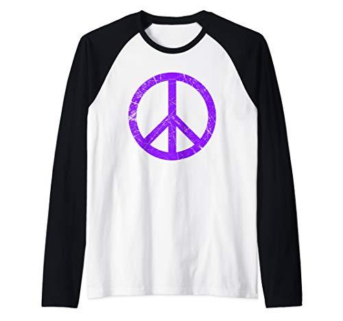 - Purple Grunge Peace Sign Cool Retro Symbol Raglan Baseball Tee