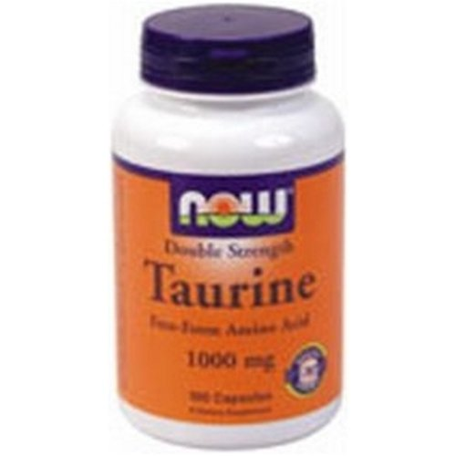 NOW Foods Taurine Double Strength 1000mg, 100 Capsules (Pack of 2)