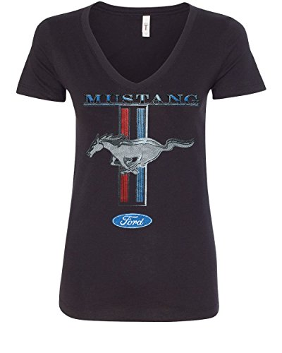 Ford Mustang Classic Women's V-Neck T-Shirt GT Cobra Boss 302 Mach 1 Black L