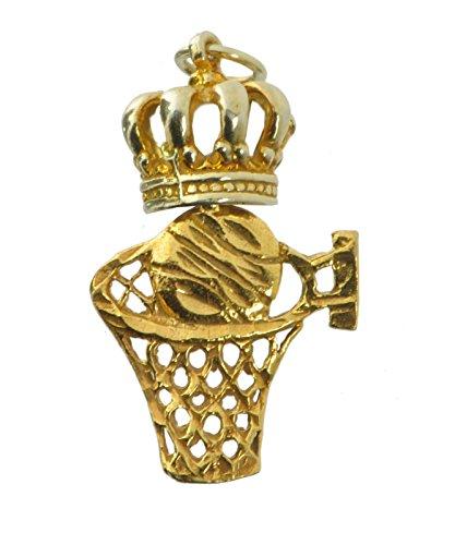 Basketball Player Charm Gold Plated - New 24K Gold Plated Best Player Basketball King of the Ball Court Charm MVP net
