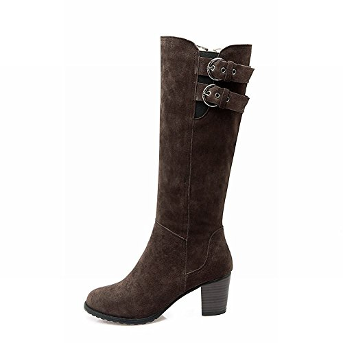 Mee Shoes Womens High-heel Nubuck Knee-high Boots Brown jvDzVrK9