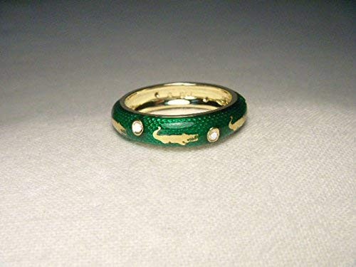 - Wonderful Hidalgo Enamel 18K Yellow Gold Alligator Crocodile Diamond Band Ring