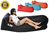 portable air matress - Inflatable Air Lounger - Perfect for Travelling, Camping, Beach and Pool! Used as Air Chair, Hangout Sofa, Couch, Hammock, with carry bag. Easy to Inflate! (BLACK)