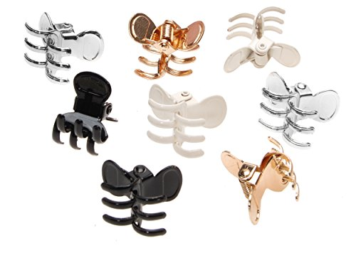 Elements Ivory Gold - L. Erickson Mini Metal Jaw Clip & Go 8-Pack - Gold/Ivory/Silver/Black