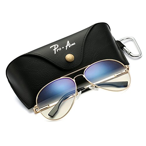 Aviator Sunglasses for Men Women Polarized Mirrored Lens - UV 400 with Case Gold/Clear