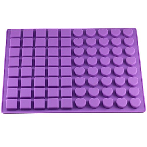 Gydthdeix Gathere 80-Cavity Square & Heart Shape Silicone Molds for Making Homemade Chocolate Caramel Candy Gummy Jelly Ganache Baking Mould
